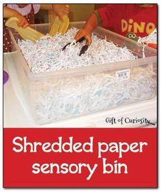 Shredded paper sensory bin - simple, inexpensive, and fun sensory play    Gift of Curiosity