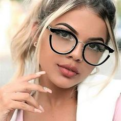 Women Cat Eye Glasses Frames Optical EyeGlasses Fashion Metal Frame Prescription Eyewear Computer Glasses 45376 - women are works of art - Brille Designer Glasses Frames, Mens Glasses Frames, Fashion Eye Glasses, Cat Eye Glasses, Lunette Style, Round Lens Sunglasses, Eyewear Trends, Ring Set, Womens Glasses