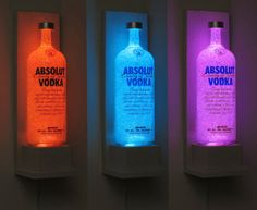 Items similar to Absolut Vodka Wall Mount Sconce Bottle Lamp Color Changing LED Remote Control Eco Friendly Bar Light Bodacious Bottles- on Etsy Absolut Vodka, Old Glass Bottles, Liquor Bottles, Liquor Bottle Lights, Vodka Bottle, Sconce Lighting, Bar Lighting, Kitchen Lighting, Shelves Lighting
