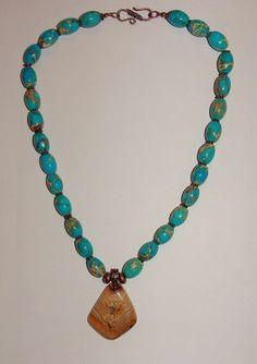 Beautiful Handmade Variscite Necklace with Petrified by SCLadyDi, $24.95