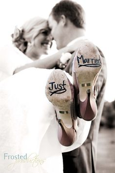 "Take photo like this and photoshop words on the bottom of bride's shoes. Can use ""Thank You"" for thank you notes or whatever you can think of. I like ""Just Married"" and then doing a recreation for your anniversaries."