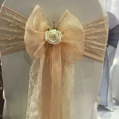 wedding chair cover hire pembrokeshire round and a half with ottoman 8 best covers images sashes soft peach organza sash vintage lace flower detail