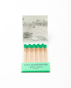 Krista Charles - Albuquerque, NM artist. She collects old matchbooks and then sketches the current street view using online maps.