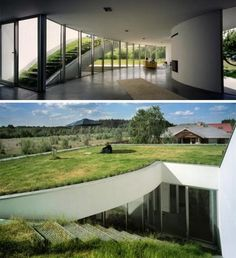 This underground house from KWK Promes was designed so the grassy roof of the home is accessible only to the residents, via a set of stairs inside the house.