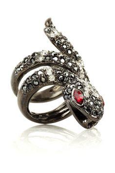 Kenneth Jay Lane Gunmetal-plated Swarovski crystal snake ring