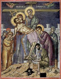 Iconography of Passion Week Orthodox Catholic, Catholic Art, Orthodox Christianity, Religious Icons, Religious Art, Religious Paintings, Byzantine Art, Last Supper, Holy Week