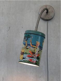 DIY: turn a vintage tin into a lamp - great idea---could use reg tin can with punched detail too Reuse Recycle, Upcycle, Tin Can Lights, Luminaire Original, Licht Box, Vintage Tins, Vintage Ideas, Vintage Style, Blog Deco