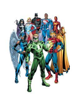 Earth-2: Batman and Superman, Red Tornado, Doctor Fate, Flash, Green Lantern, Hawkgirl, Huntress and Power Girl by Nicola Scott