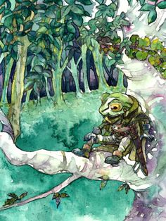 Such a beautiful watercolor of one of my favorite characters from Chrono Trigger: Frog (aka Glen, but SPOILERS! Chrono Trigger, Character Concept, Character Art, Character Design, Video Game Art, Video Games, Chrono Cross, Samurai, Dragon Quest