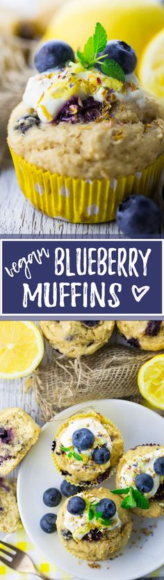 The recipe for these vegan blueberry muffins couldn't be easier. They're ready in only 25 minutes and so DELICIOUS! <3 | veganheaven.org