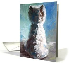 Dogs card: Sympathy - Loss of Dog - West Highland - White Shadows Greeting Card by Mary Sparrow Smith