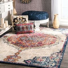 nuLOOM Maranda Vintage Medallion Area Rug, x Multi - Features a Medallion design Made of polypropylene Construction: machine made - living-room-soft-furnishings, living-room, area-rugs - - My Living Room, Living Spaces, Hippie Living Room, Transitional Rugs, Rugs Usa, Round Rugs, Home Decor Store, Rugs Online, Boho Decor