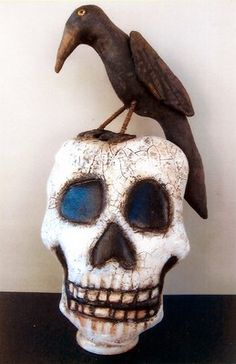 """""""Skull and Crow"""" pattern. Make your own Halloween decoration."""