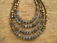 Dainty Labradorite Necklace with blue flash by ArtifactsEtCetera, $32.00