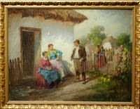 "Agoston Acs (Hungarian 1889-1947) "" Flirting"""