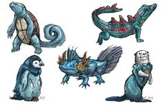 Realistic Pokemon Sketches: Water Starters by ReneCampbellArt.deviantart.com on @deviantART