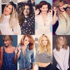 My favorite girls: Ashley Tisdale, Anne Hathaway, Sandra Bullock, Shakira, Taylor Swift, Emma Watson, Jennifer Lopez y Bridgit Mendler. #MyTop8 <3