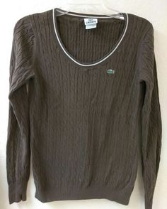 LACOSTE Womens Cable Knit Sweater Brown Long Sleeve Cotton Pullover RN87651- 38 | Clothing, Shoes & Accessories, Women's Clothing, Sweaters | eBay!