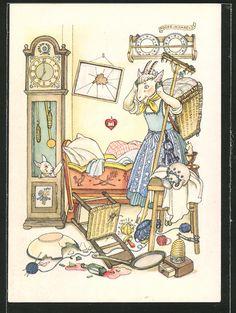 Alte Ansichtskarte: Künstler-AK Reklame für Indanthren, Geißenmutter findet nur noch ein Geißlein in der Standuhr, Märchen