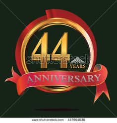 44 years golden anniversary logo with big red and gold ring. anniversary logo for birthday, celebration, wedding and party