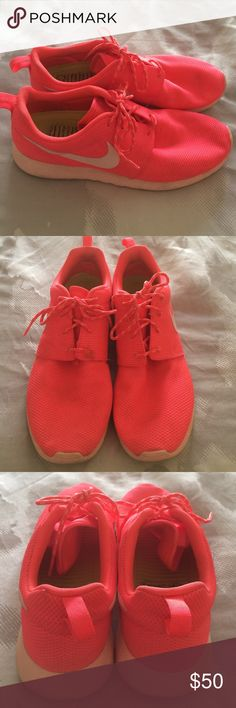 Nike Roshe Punch Pink Worn 4-5x's. Signs of light wear; no defects. Size women's 11. Nike runs small so these are perfect for someone that normally wears a size 10 in women's. Perfect bright color for summer! OFFERS WELCOME! Nike Shoes Athletic Shoes