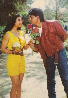 """These 2 r my fav movie couple in """"sappy girly, cry my eyes, swoon, out Bollywood""""! Bollywood Stars, Bollywood Couples, Bollywood Celebrities, Bollywood Fashion, Bollywood Actress, Shahrukh Khan And Kajol, Shah Rukh Khan Movies, Indian Aesthetic, Juhi Chawla"""