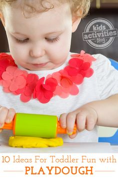 What fun ideas!  10 Ideas for Toddler Fun with Playdough