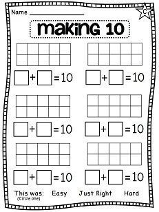 Making 10 worksheets ten frames that students can use 2 different colors to make dots that add to ten then write their addition number sentence 1st Grade Math, First Grade Classroom, Math Classroom, Kindergarten Math, Teaching Math, Preschool, Math Worksheets, Math Resources, Math Activities