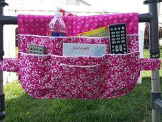 Walker Bag, Walker Bags, Walker Tote, Walker Caddy, Walker Organizer, Walker Accessory, Lots of Pockets, Pink Blossoms by CraftyWanda on Etsy https://www.etsy.com/listing/276545686/walker-bag-walker-bags-walker-tote