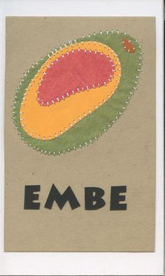 embe (mango)... swahili flashcards 4x6 inches hand-cut and sewn paper collage