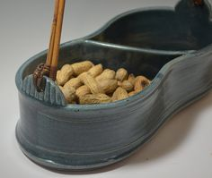 2 Chambered Pottery Serving Basket by AmyMansonPottery on Etsy, $70.00