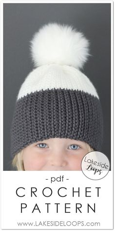 It's really crochet ! This modern two-tone hat design looks like it's knitted but is made with regular crochet hooks and beginner crochet stitches. The beanie fabric is dense and very stretchy … perfect for the. Knitting For Kids, Crochet For Kids, Baby Knitting, Crochet Baby, Simple Crochet, Crochet Ideas, Free Crochet, Easy Crochet Hat, Crochet Winter Hats