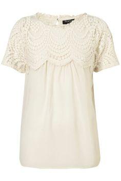 Topshop - Tall Cream Lace Yoke Sheer Blouse customer reviews ...