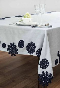 Mrs LoveGood Collection white tablecloth with black (or dyed) doilies Crochet Motif, Crochet Doilies, Drop Cloth Curtains, Alphabet Print, Crochet Home Decor, Table Covers, Victorian Homes, Table Linens, Crochet Projects