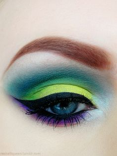 This will be my one thing about the Seahawks/superbowl. As far as makeup in these colors goes, I think doing the blue in the crease like this leaves the green looking the truest (rather than doing the opposite like I have in the past)