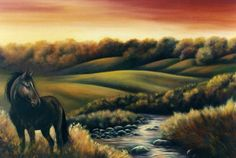 Standing Magestic Under a Red Sky fine art giclee by GlendaOkiev, $275.00