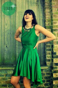 Green goddess or tinker bell: BHL flora in shinny emerald satin. – House of Pinheiro