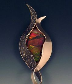 Ammolite~ Metal Art Statement Pendant