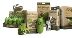 Compostable poop bags that break down in as little as 40 days - must have for any dog owner.
