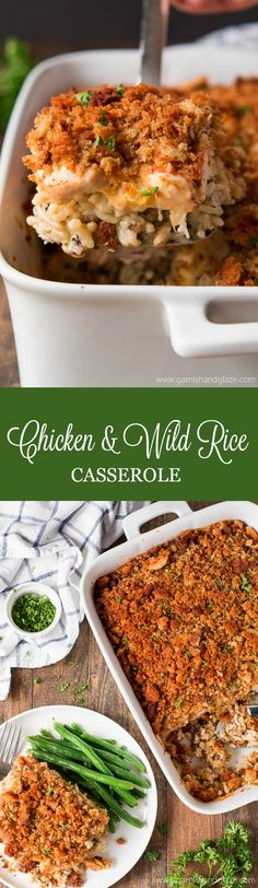 Chicken & Wild Rice Casserole is the ultimate comfort food layered with flavorful rice, chicken, a cheesy sauce, and crispy stuffing. This dish is perfect for taking to those who are in need of help during difficult times (new baby, death, sickness...). #casserole #chickendinner #easydinner #stuffing