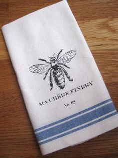 French linen tea towel - use to wrap bread gifts. Imprint with bee printable. how cute is this?