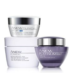 Anew Treatments Trio  An $88 value, this trio includes:Anew Clinical Retexturizing Peel  Have you ever wanted the spa treatment with the ease of staying at home? The Anew Clinical Retexturzing Peel has shown superior results to a professional ...... Sale price $60.00 Special offer FREE! your choice of any Anew travel size moisturizer. Avon Beauty Boss shirlean walker #skincare #retexturing #peel #smoothes #brightens