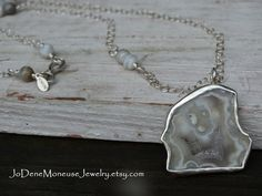 Gorgeous Agate Druzy slice necklace, set in a hand fabricated, open back, fine silver bezel $75.00 by JoDeneMoneuseJewelry