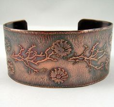 Etched Flowers and Tree Limbs Copper Cuff
