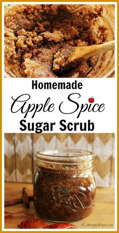 Homemade Apple Spice Body Scrub This DIY Apple Spice Sugar Scrub is so easy to make and smells good enough to eat. Great for exfoliating .This DIY Apple Spice Sugar Scrub is so easy to make and smells good enough to eat. Great for exfoliating . Sugar Scrub Recipe, Sugar Scrub Diy, Lotion Recipe, Body Scrub Recipe, Diy Body Scrub, Diy Scrub, Bath Scrub, Natural Beauty Tips, Diy Beauty