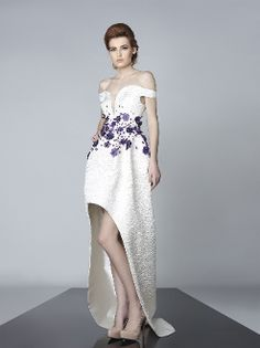 Divina by Edward Arsouni Purple Long Sleeve Peplum Gown FW0098