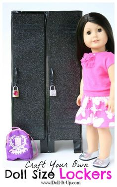 Craft Your Own Doll Size Lockers from cardboard boxes.