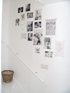 leuke manier van familie kiekjes en teksten groeperen/???/ love the simplicity of black & white & tape