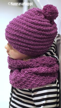 NauravaNappi: Pipo+huivi ohje Knitting For Kids, Baby Knitting Patterns, Crochet Baby, Knit Crochet, Crochet Needles, Kids Hats, Baby Accessories, Handicraft, Knitted Hats
