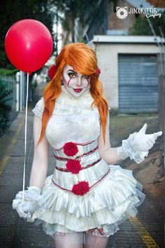 20 Most Delightful Halloween Costumes Makeup. Halloween Costumes Redhead, Clown Costume Women, Redhead Costume, Halloween Cosplay, Girl Costumes, Costumes For Women, Scary Clown Costume, Spirit Halloween, Halloween Makeup